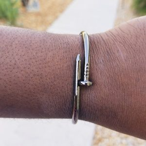 Other - Unisex Gunmetal Stainless Steel Nail Bangle